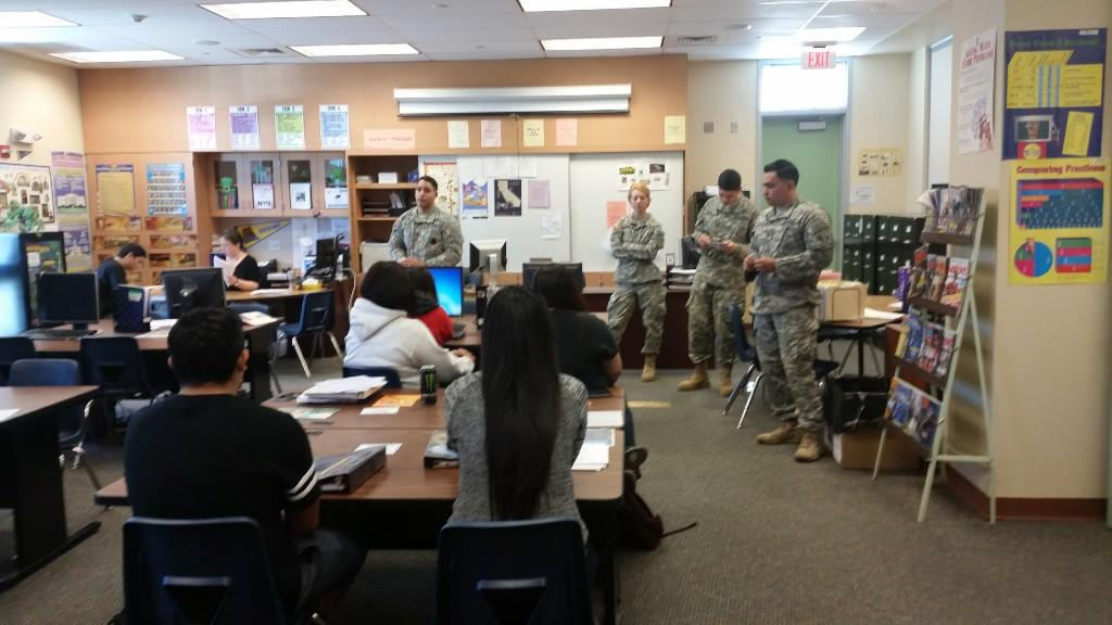 United States Army recruiters are talking to students about a career in the military
