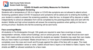 NCP school screening information