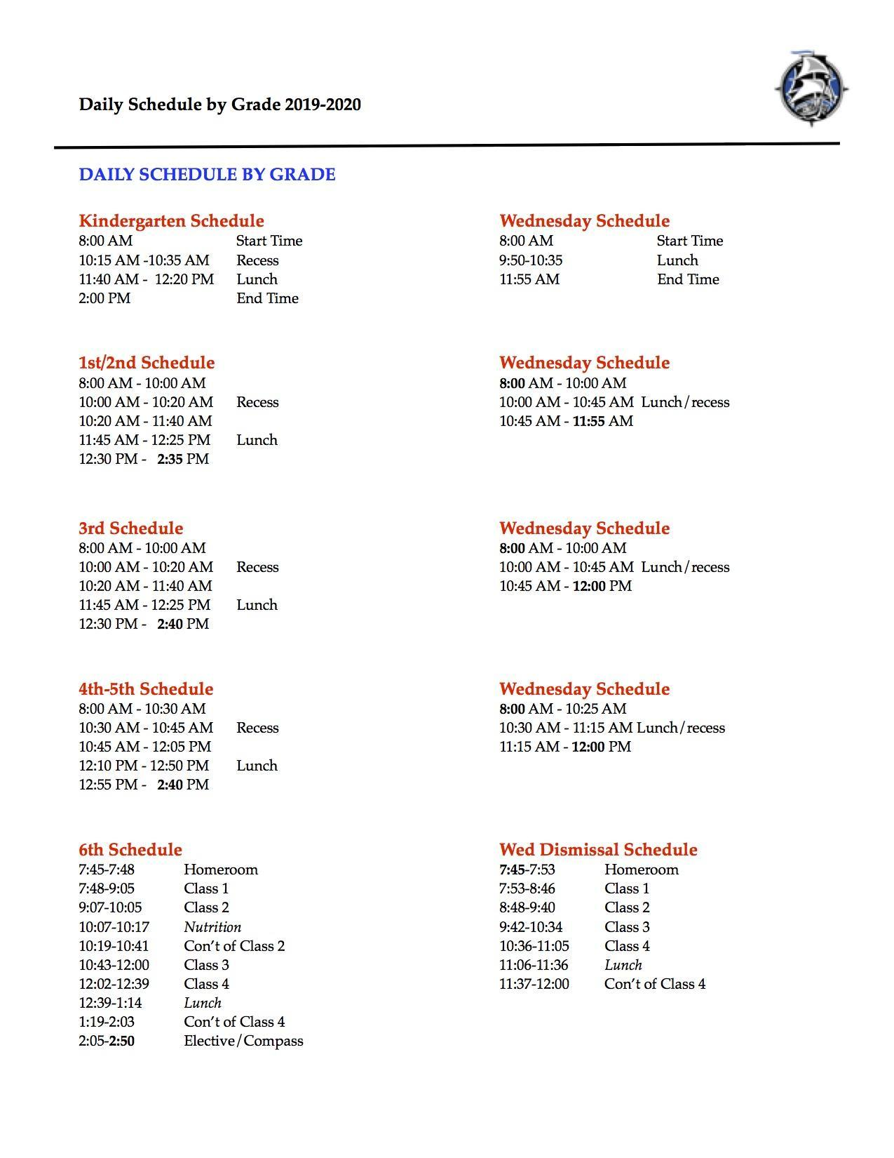 Daily Bell Schedule By Grade