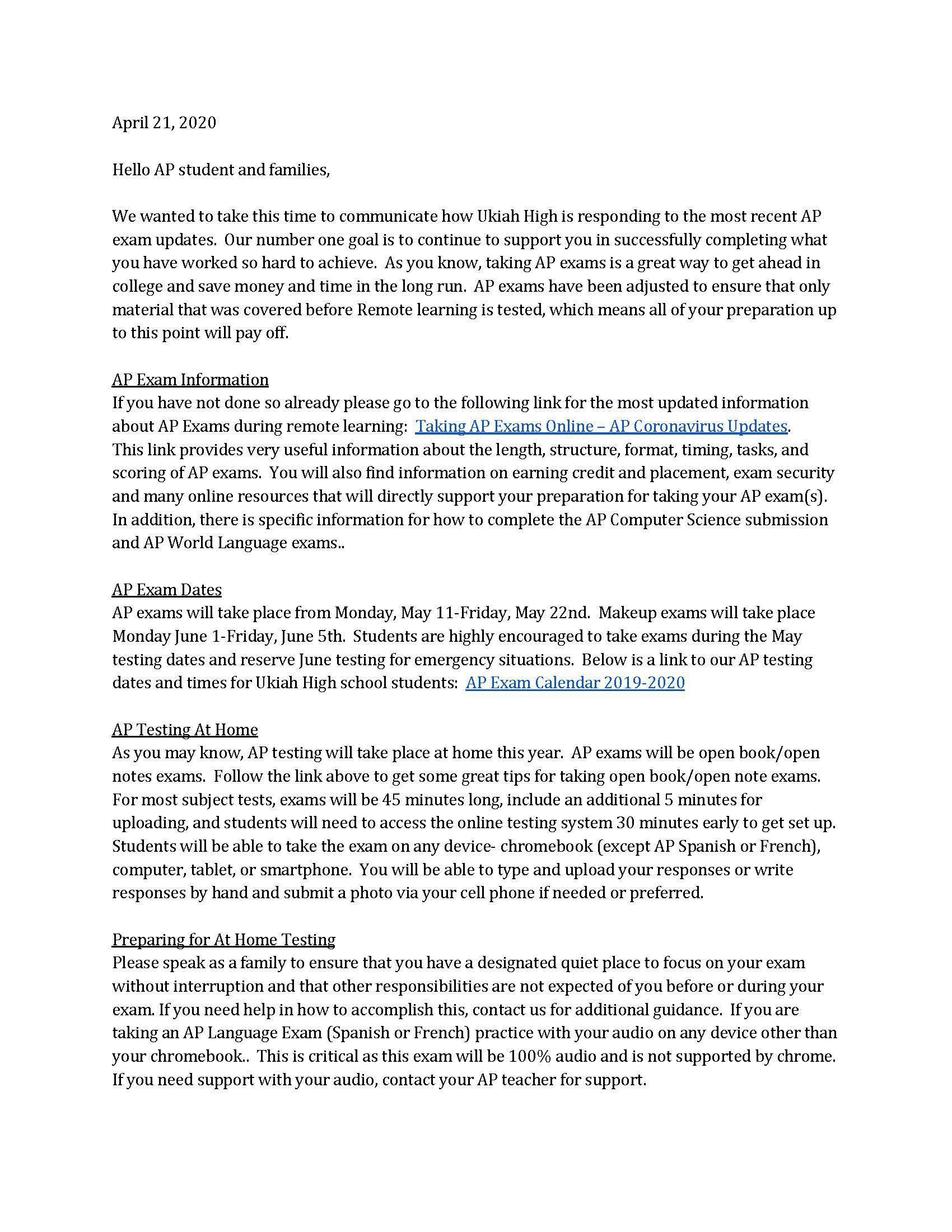 AP Testing info