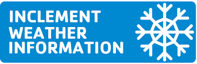 Blue inclement weather Information banner written in bold capital letters with white snowflakes.