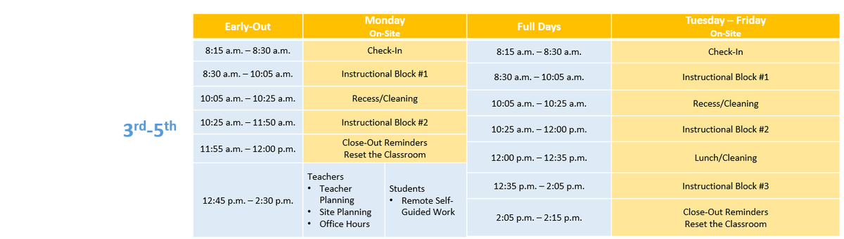Image of daily schedule - please contact Ed Services is you need assistance