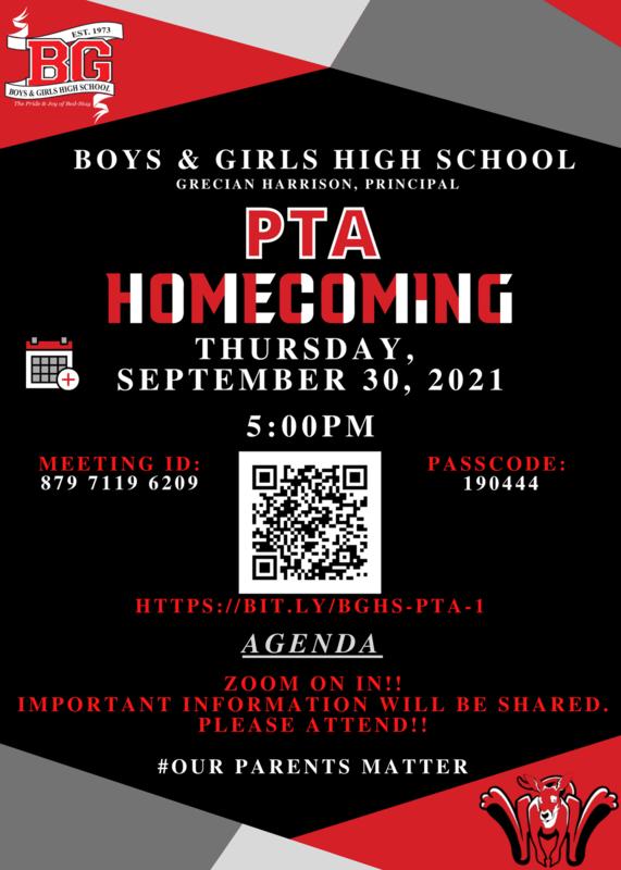 BGHS PTA Homecoming Meeting -  Sept 30 2021 - 5:00 PM