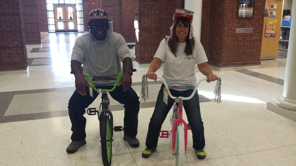 CCPS Staff modeling prize bikes