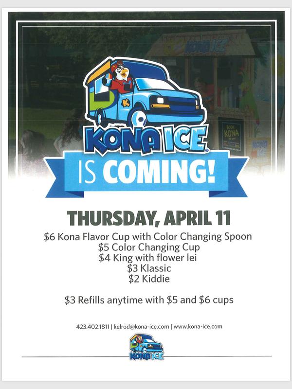 Kona Ice Truck Thursday, April 11, 2019