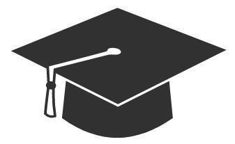 Dark grey graduation cap with white tassel