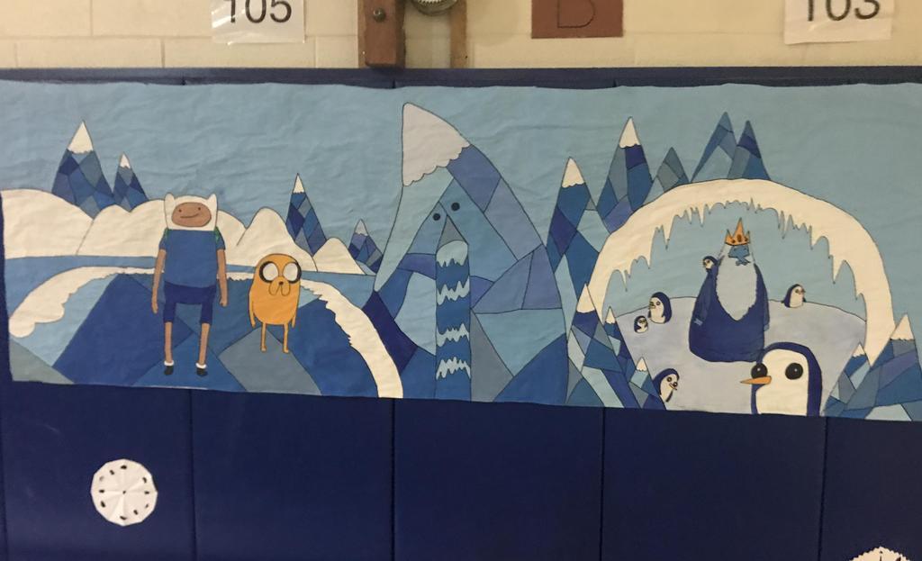 student cartoon artwork on display
