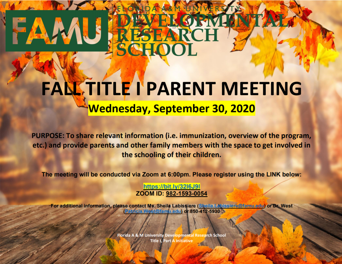Fall Title I Parent Meeting