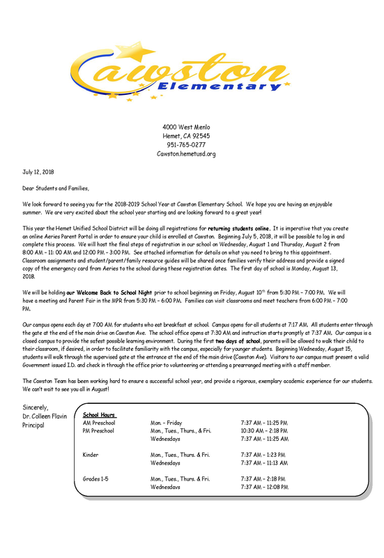 Welcome Back Family Letter 2018-2019
