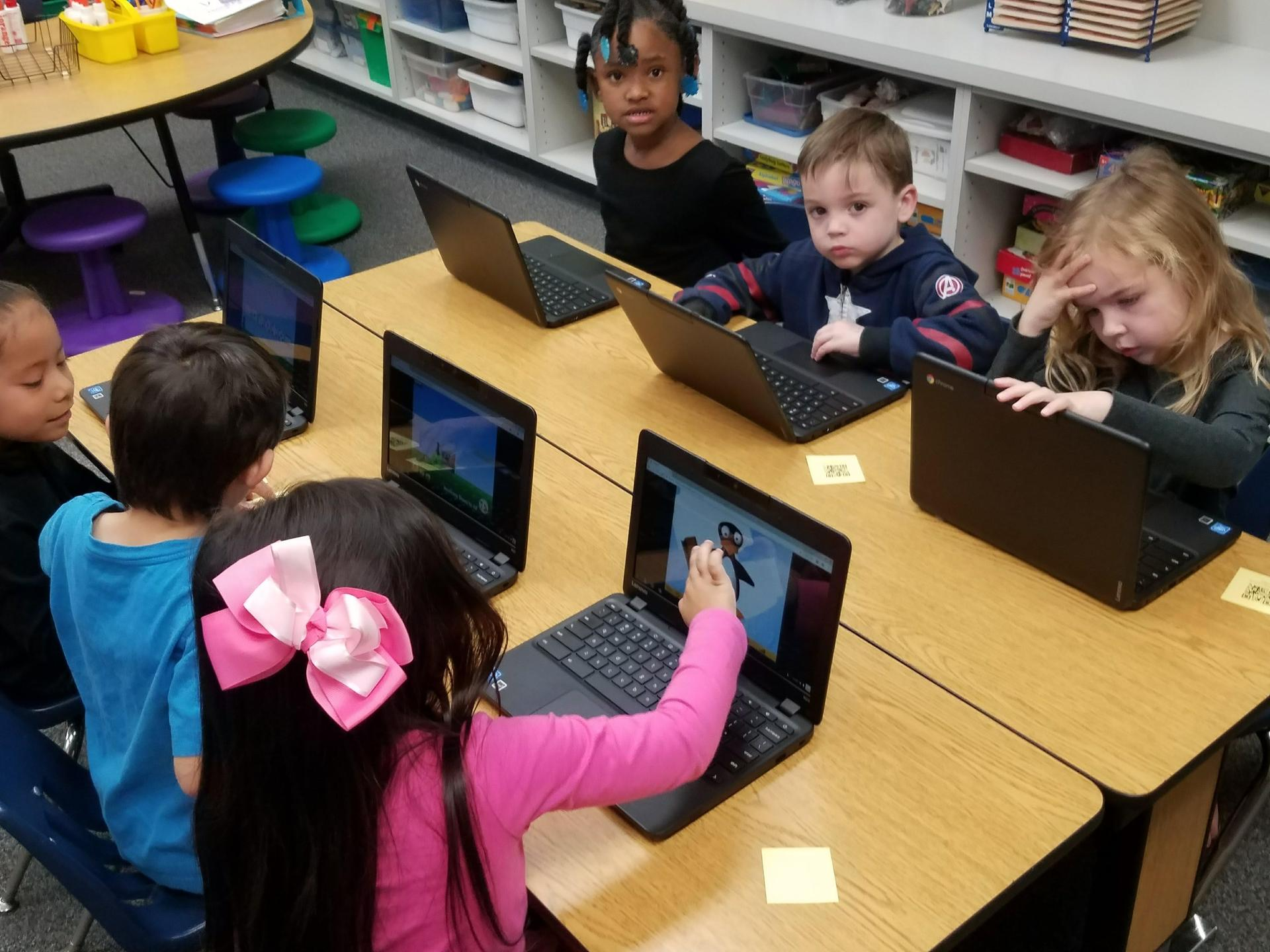 students using chromebook in class