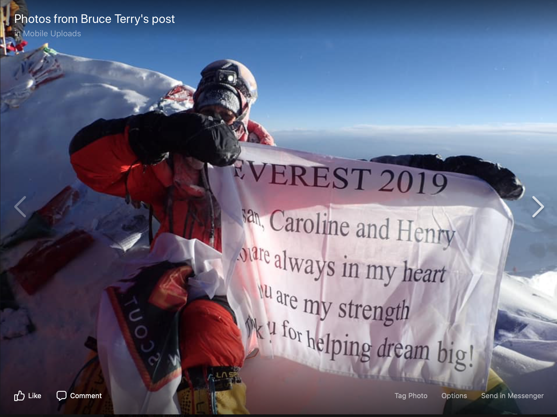 Bruce Terry '78 conquest Mt Everest