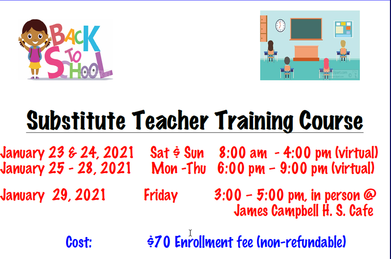 CANCELLED: Substitute Teacher Training Course January 2021 Featured Photo