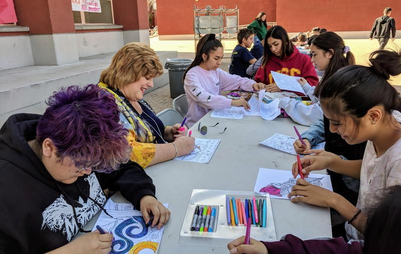 Gabrielino students color intricate mandalas during school's Mental Health Awareness Day.