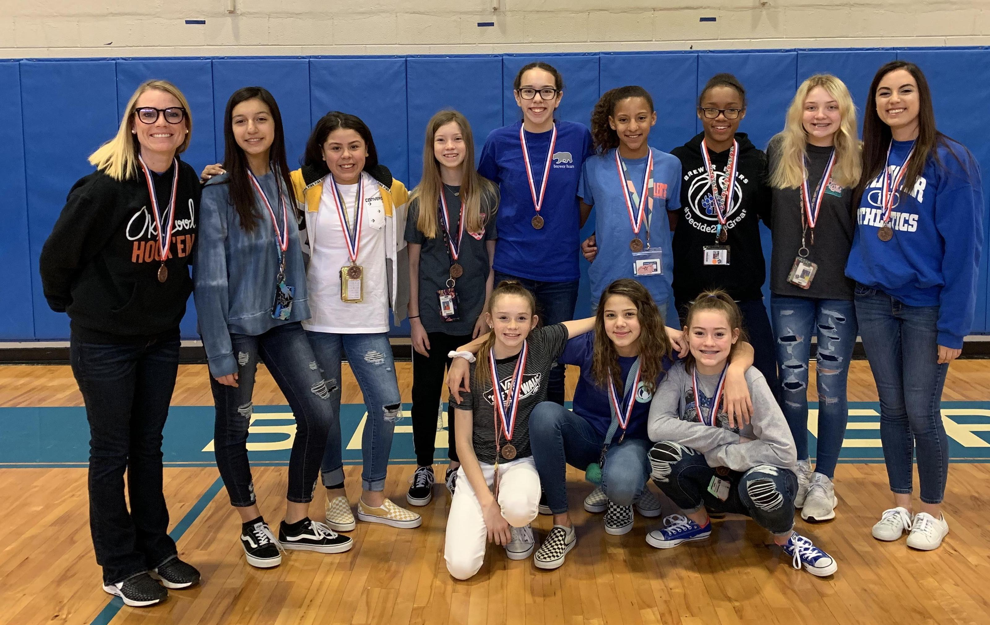 Brewer Middle School's seventh grade A team finished third in district.