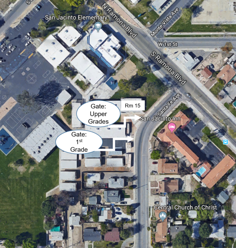 Satellite map of SJE campus with gates on Sante Fe St.
