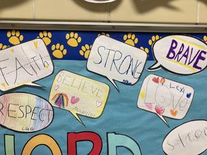 Speech bubbles on bulletin board