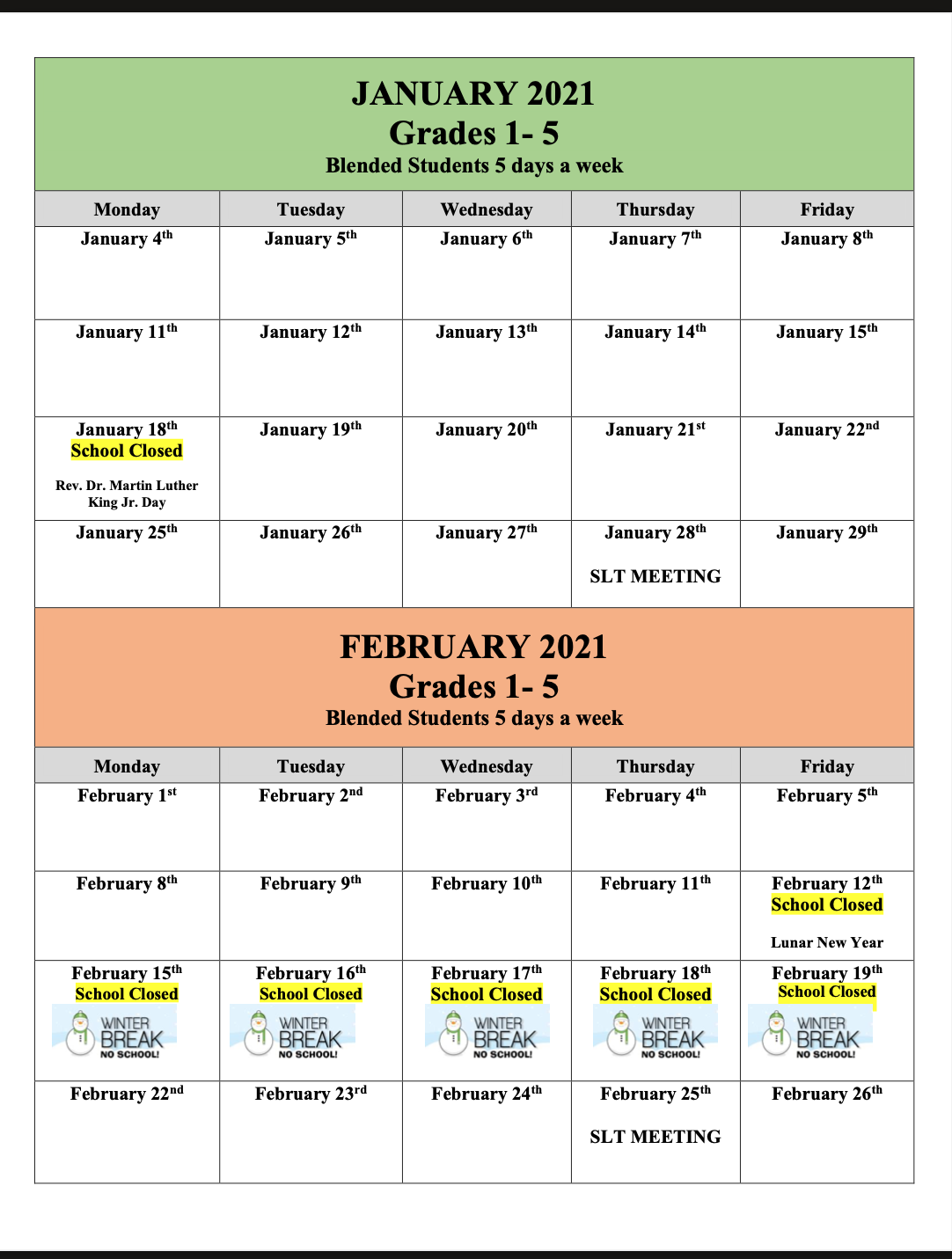 January/February 2021 school calendar including holidays for in-person full time students.