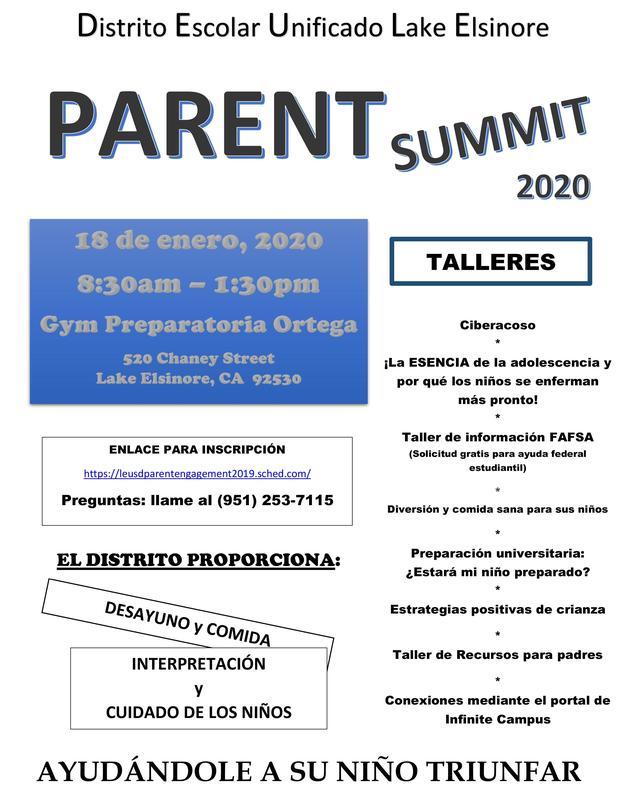 Se les invita a todos los padres y tutores a la conferencia de padres de LEUSD 2020 el sábado, 18 de enero de 8:30 a.m. a 1:30 p.m., habrá cuidado infantil, comidas y servicio de transportación.