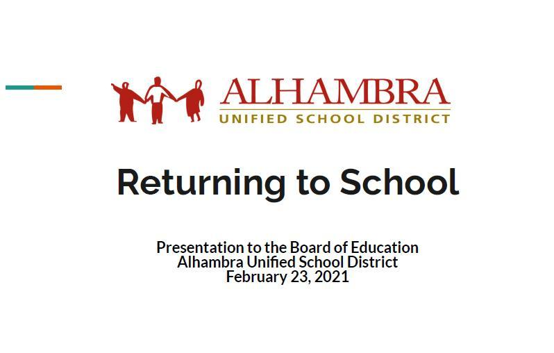 Reopening Presentation - February 23rd BOE Meeting Featured Photo