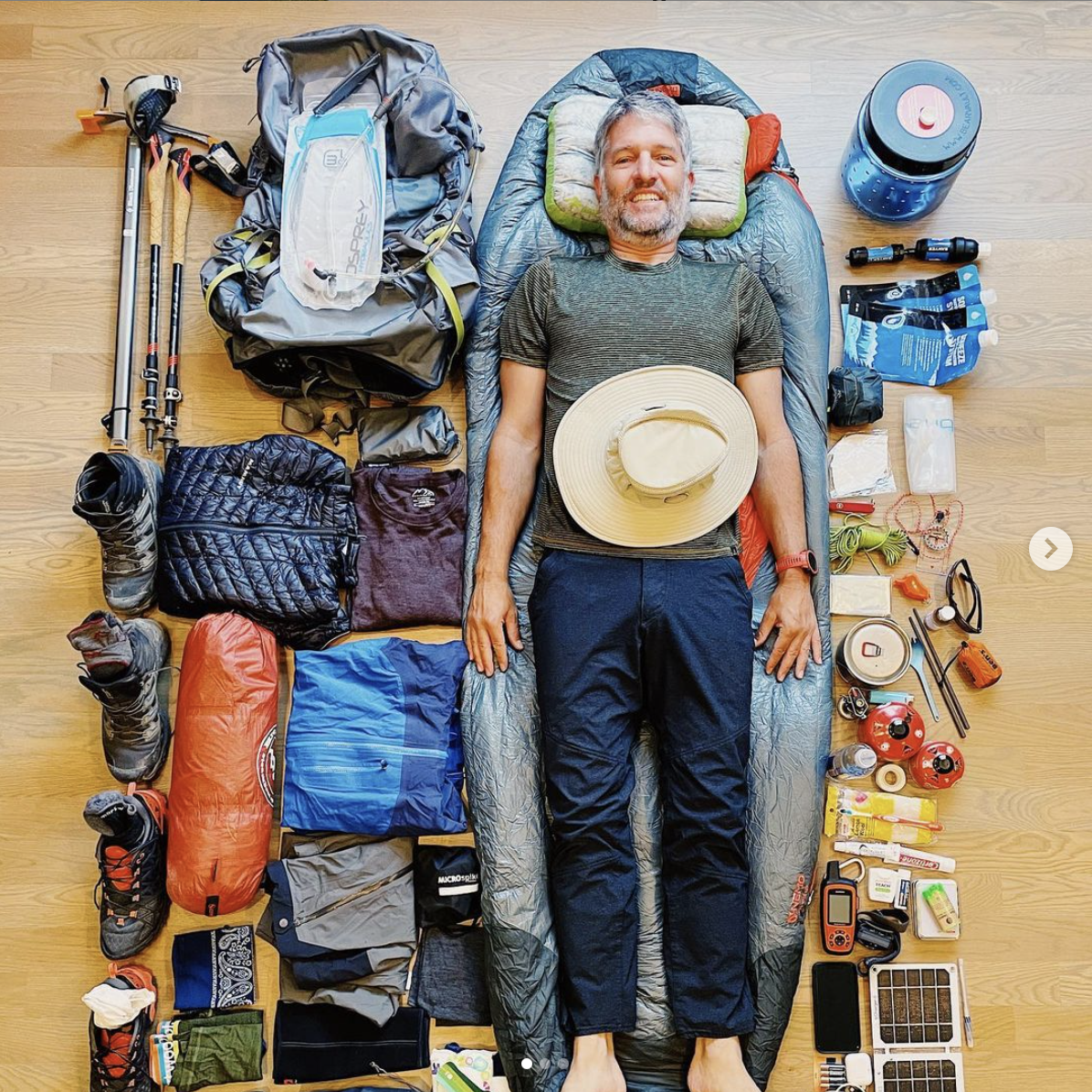 Tom has gathered all his gear and is ready for his trip!