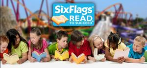 Image of students reading and Six Flags Logo