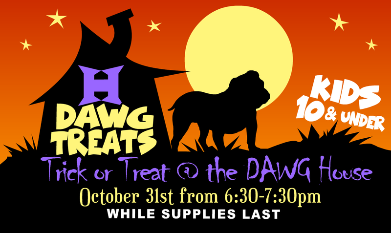 Flyer for Dawg Treats Event in English