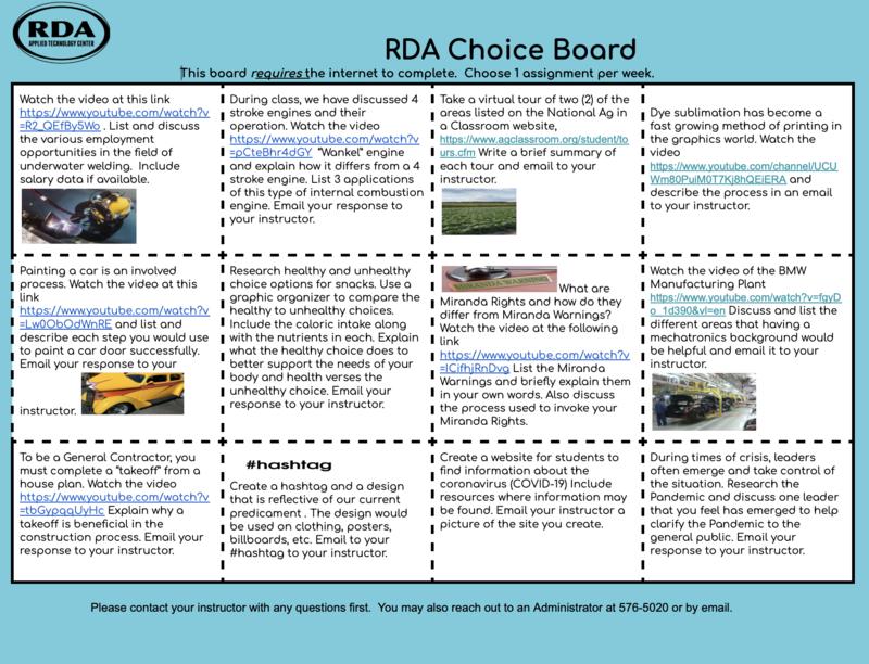 RDA Choice Board Featured Photo