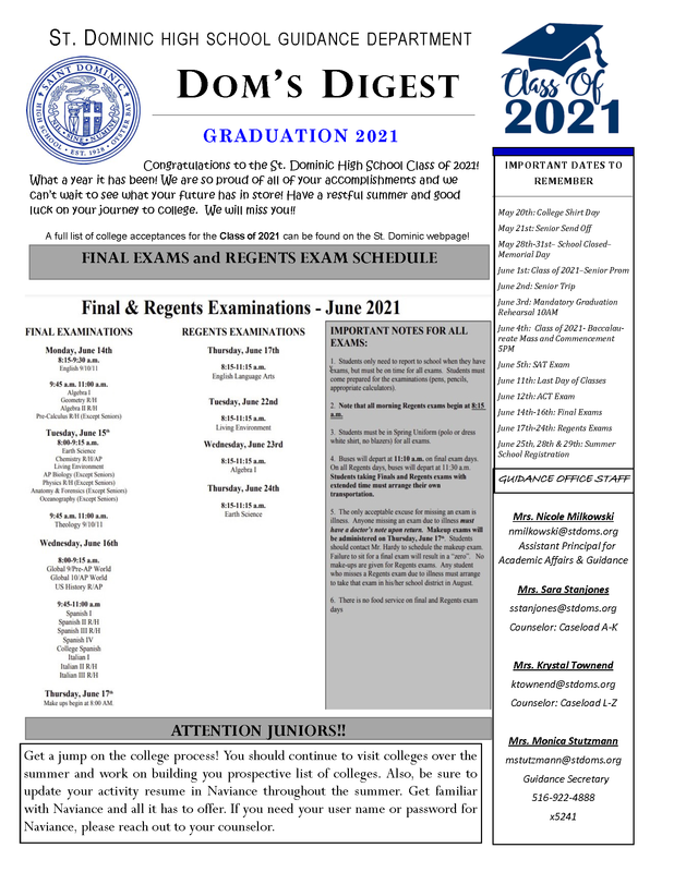 Dom's Digest - Guidance Department Newsletter (Graduation 2021 Edition) Featured Photo