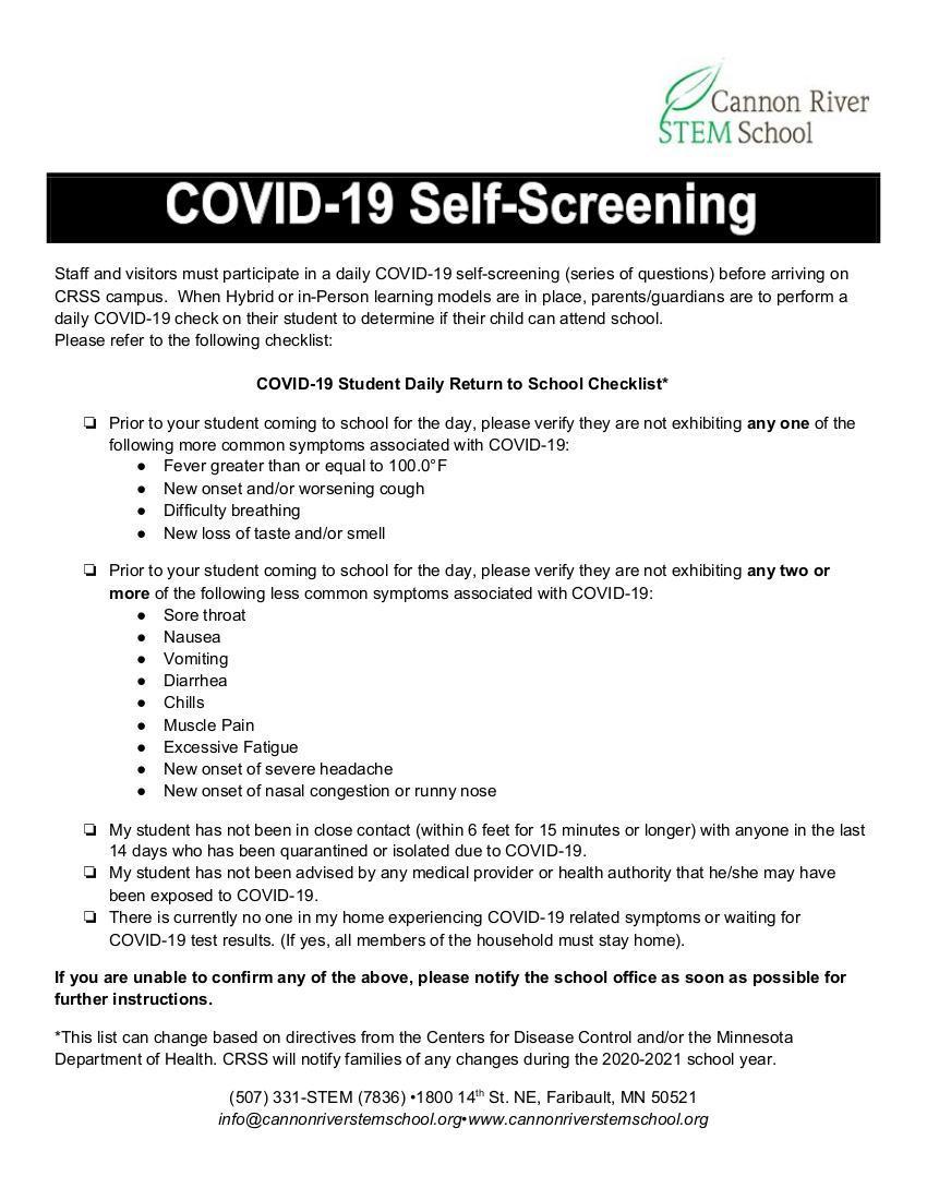 COVID-19 Self-Screening List
