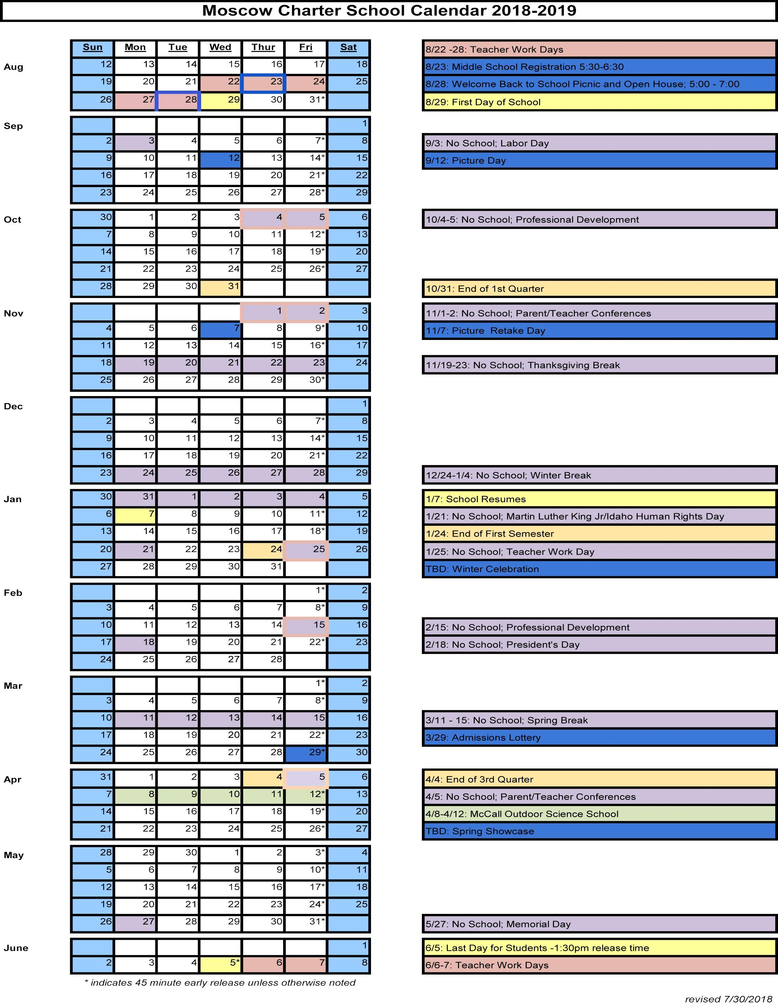 Moscow Charter School 2018-2019 Calendar