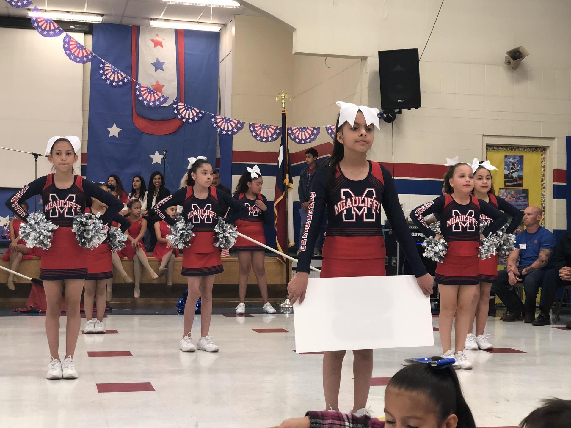 cheering on the floor