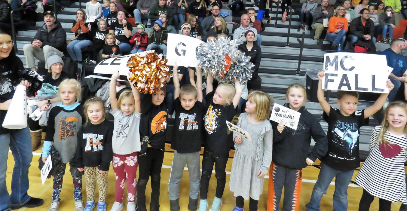 Young students from McFall cheer on their school and their teachers at the Battle of the Buildings.