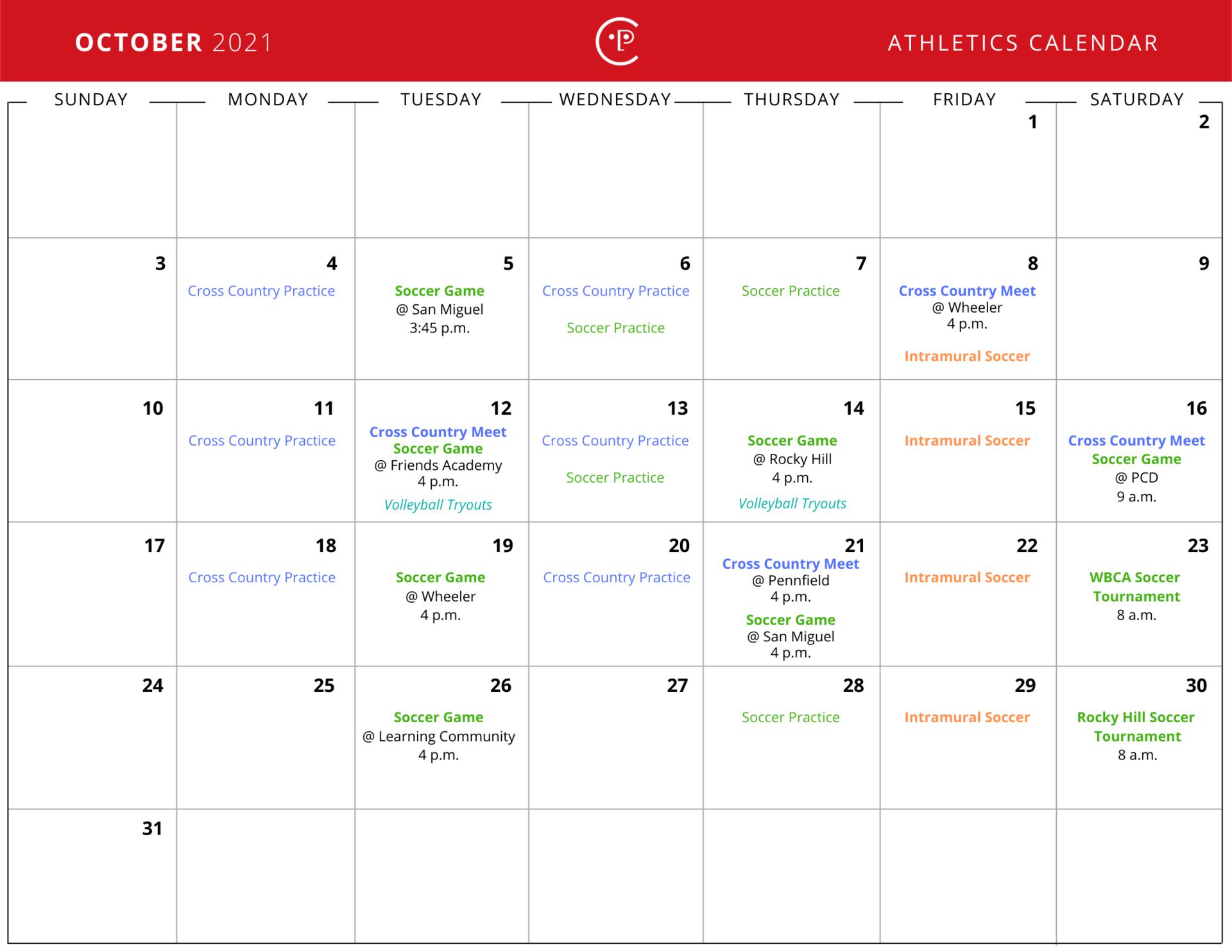 October 2021 Athletics Calendar