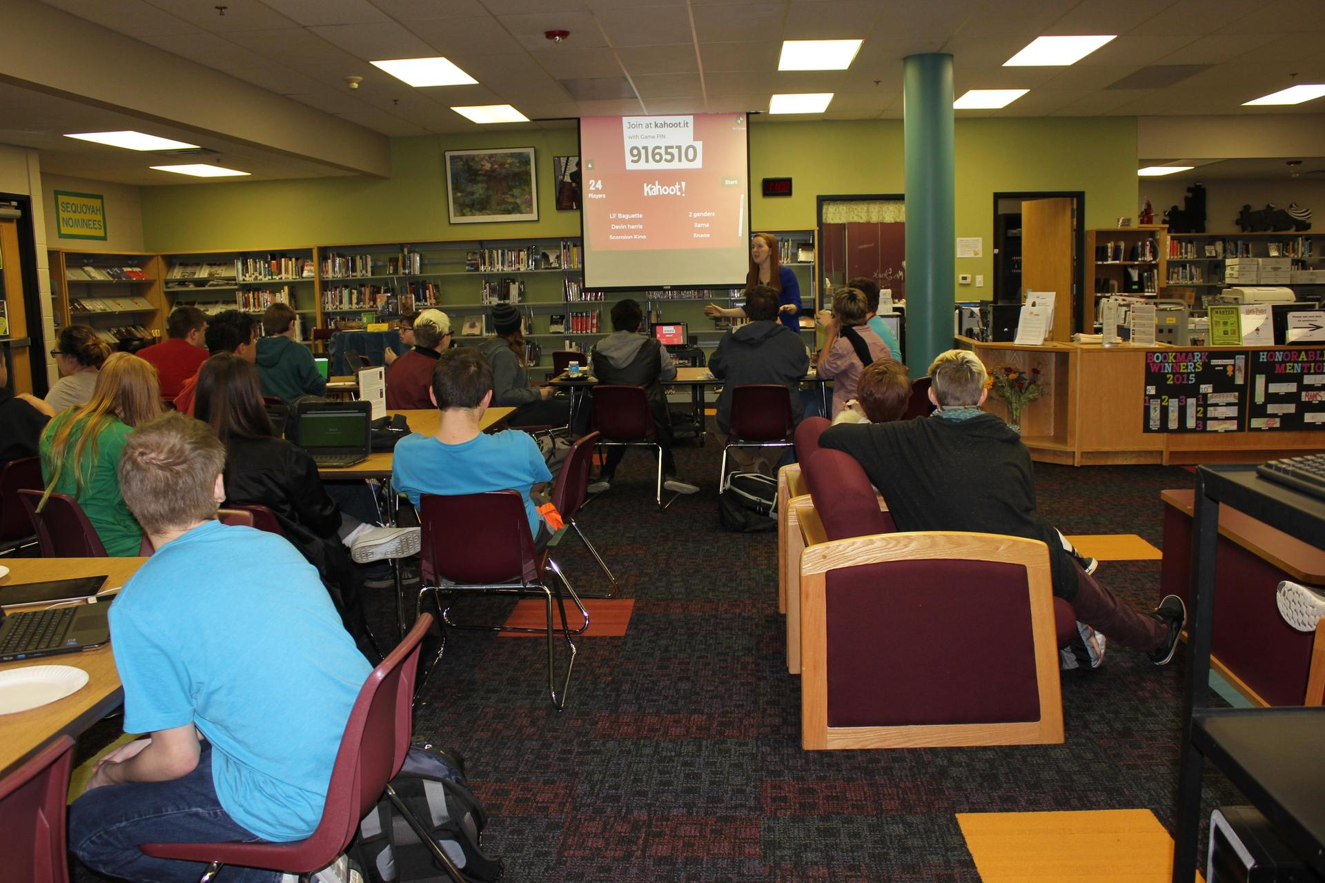 The OHS West Library during a Harry Potter trivia contest