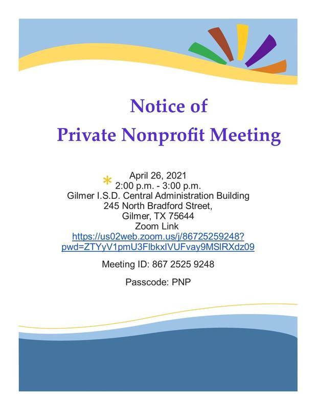 Notice of Private Nonprofit Meeting