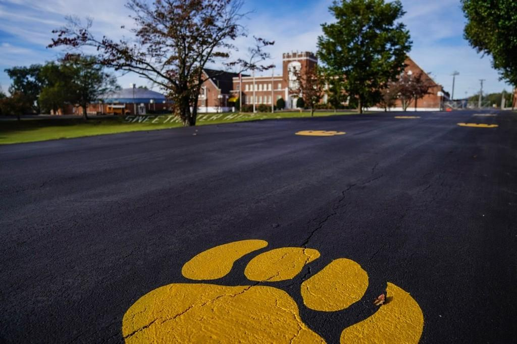 Front of Main Building, Cat Paw and Letters
