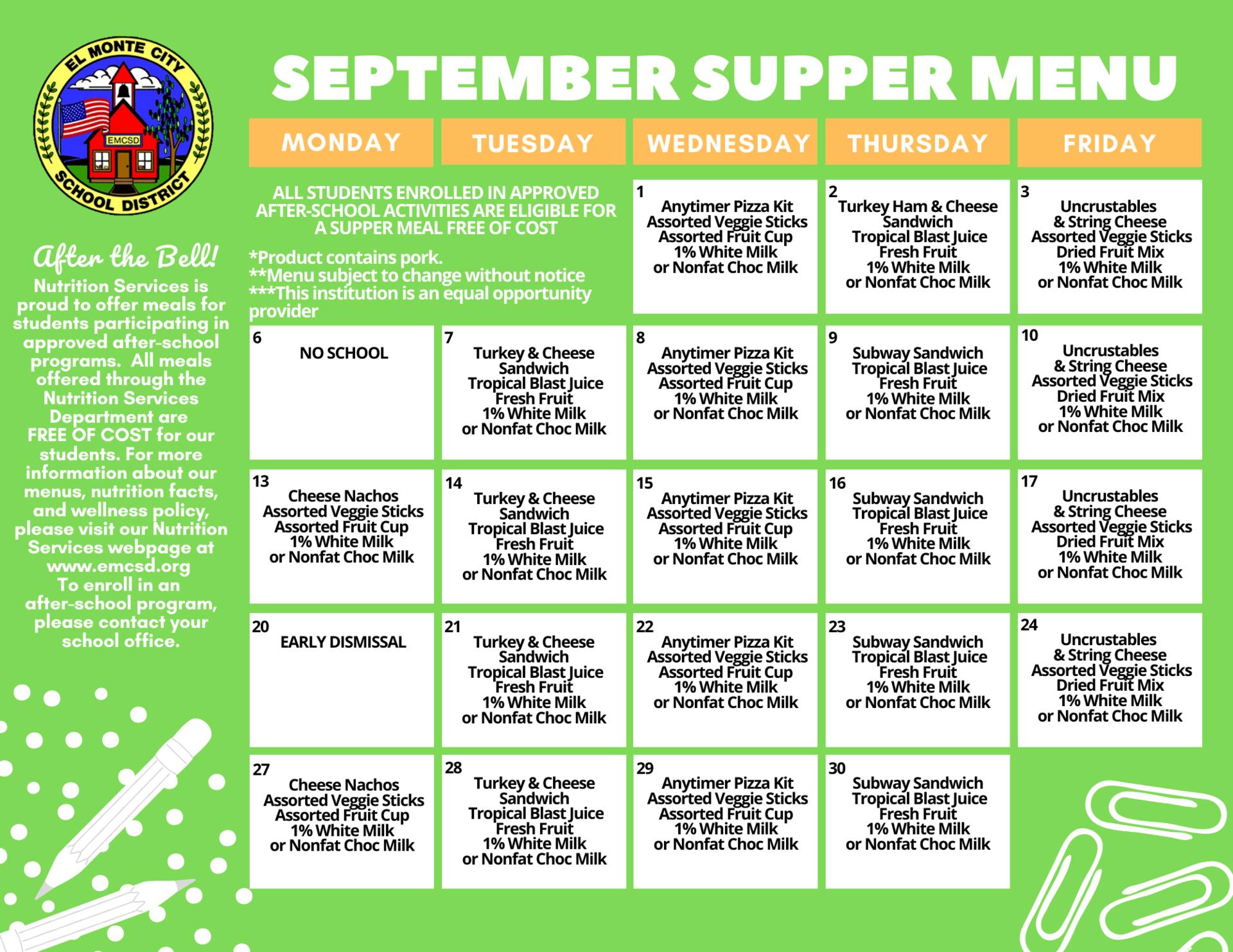 September Supper Menu