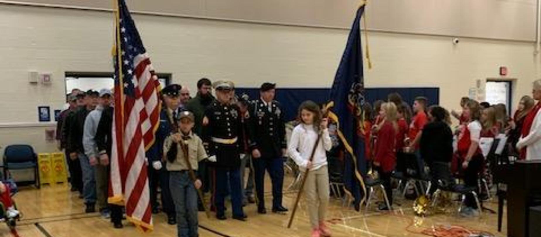 Veterans entering gym