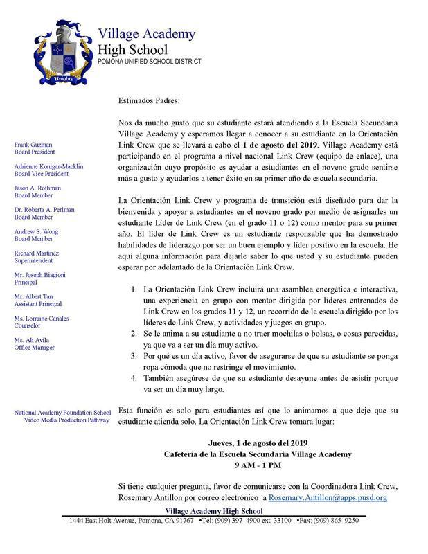Link Crew Letter - Spanish