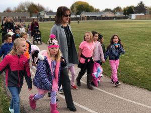 Mayor Kling and our students having fun walking