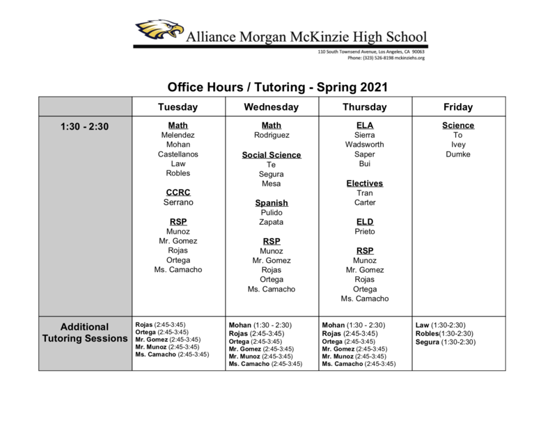 Office Hours / Tutoring - Spring 2021 Thumbnail Image