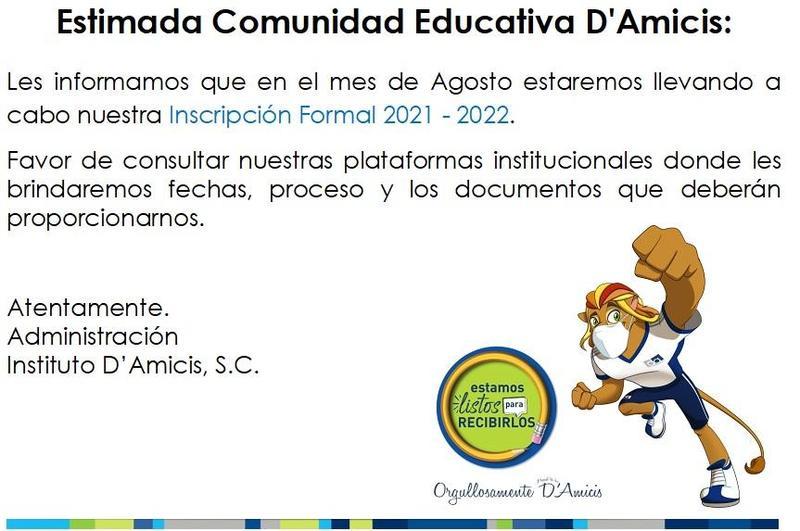 En el mes de AGOSTO: Inscripción Formal Ciclo Escolar 2021-2022 Featured Photo