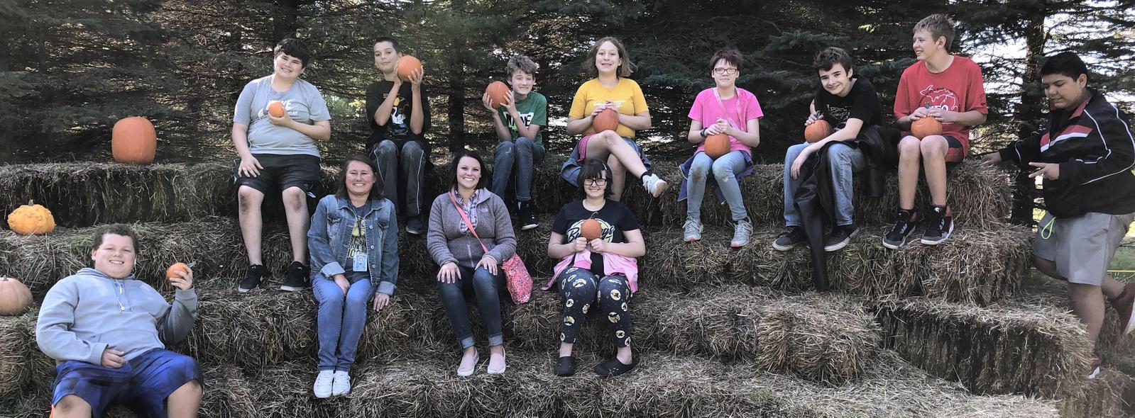 Mrs. Danielson's class at the pumpkin patch