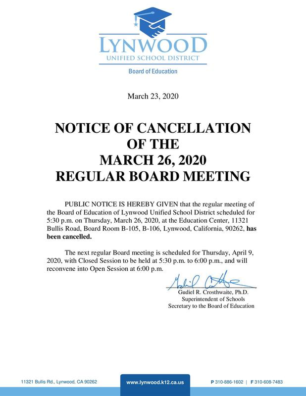 March 26 Board of Education Meeting Canceled Featured Photo