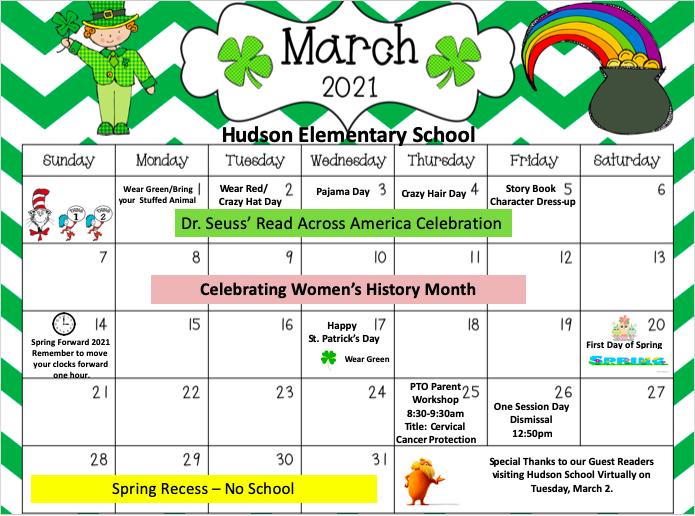 Hudson School March Calendar