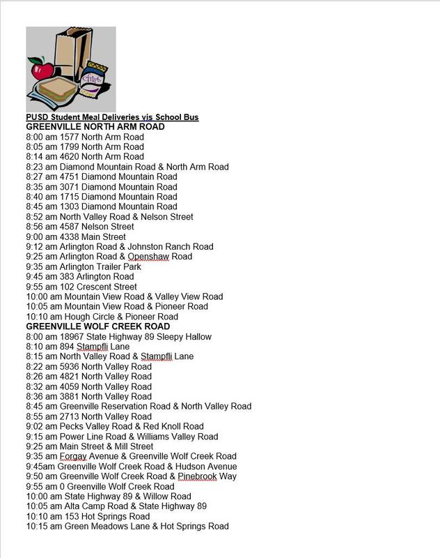 lunch delivery schedule