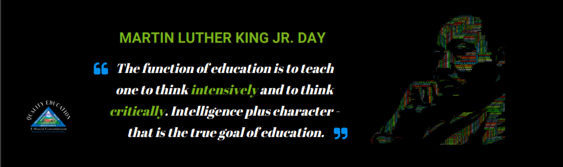 Picture of Martin Luther King, Jr. with quote and Beaumont USD Logo