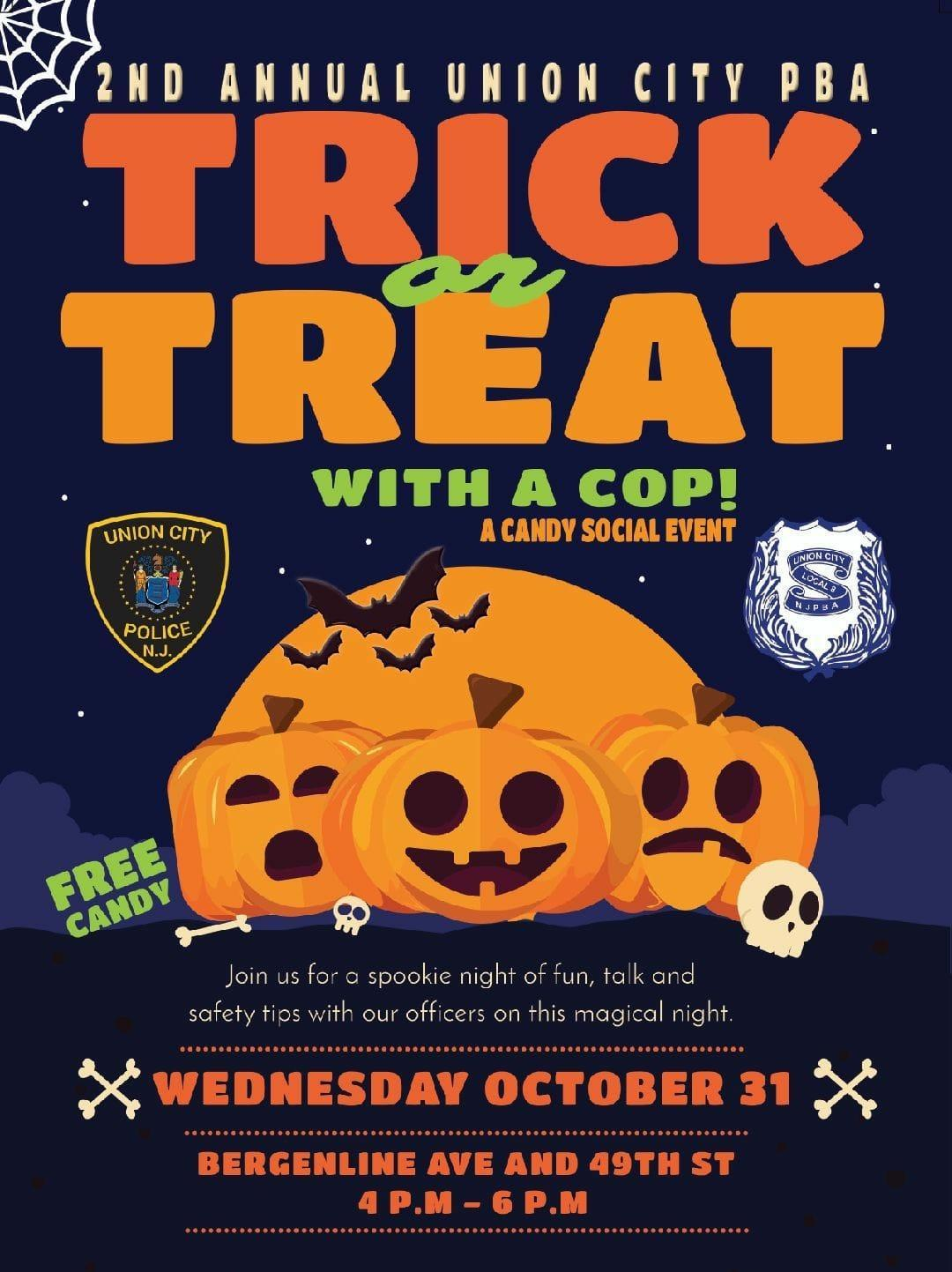 Trick or Treat with a Cop flyer for Halloween