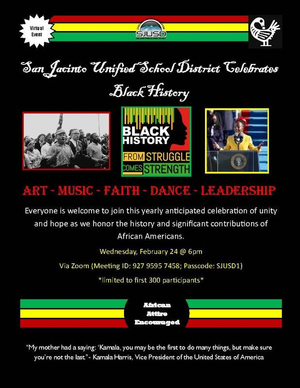 Flyer invitation to Black History Month Celebration Zoom session, Meeting ID 927 9595 7458, Passcode SJUSD1