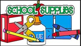 Clip art of school supplies